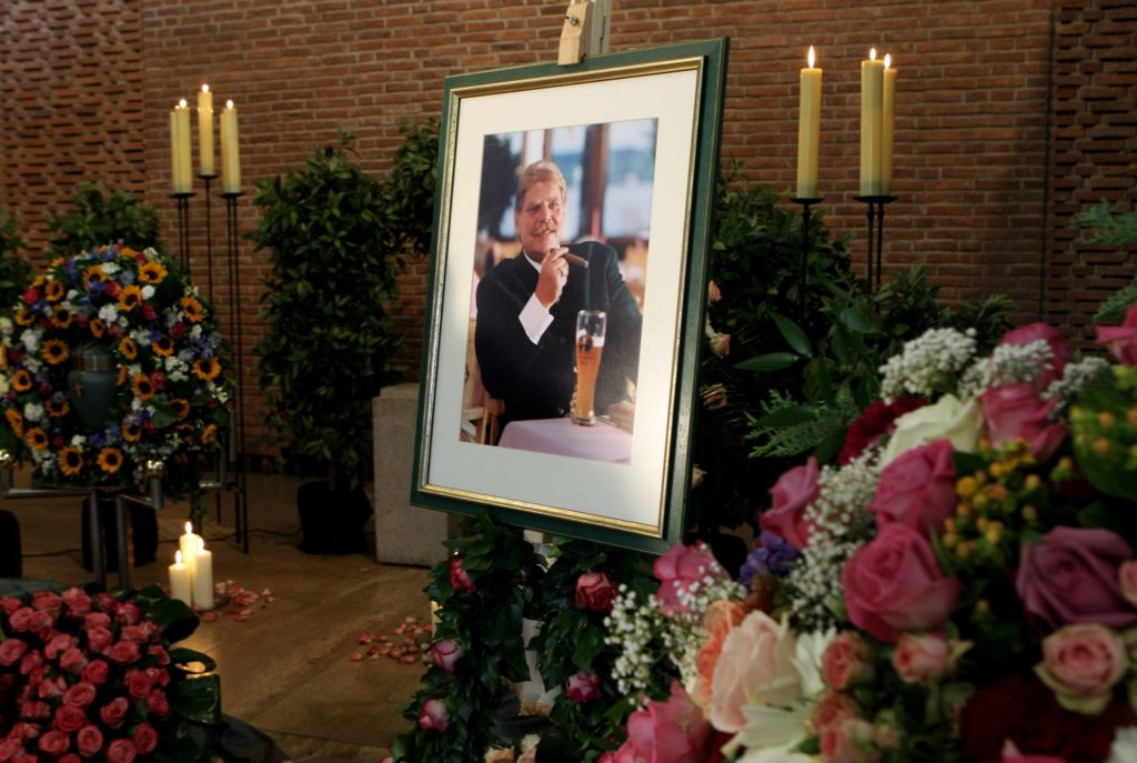 MUNICH, GERMANY - AUGUST 04: A picture of Karl-Heinz Wildmoser is displayed at the Waldfriedhof cemetery on August 4, 2010 in Munich, Germany.The former president of the football club TSV 1860 Muenchen died on July 28, 2010. (Photo by Miguel Villagran/Bongarts/Getty Images)