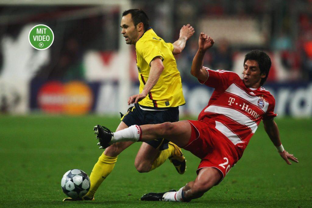 Jose Ernesto Sosa versuchte hier 2009, Andres Iniesta zu stoppen. Foto: Getty Images
