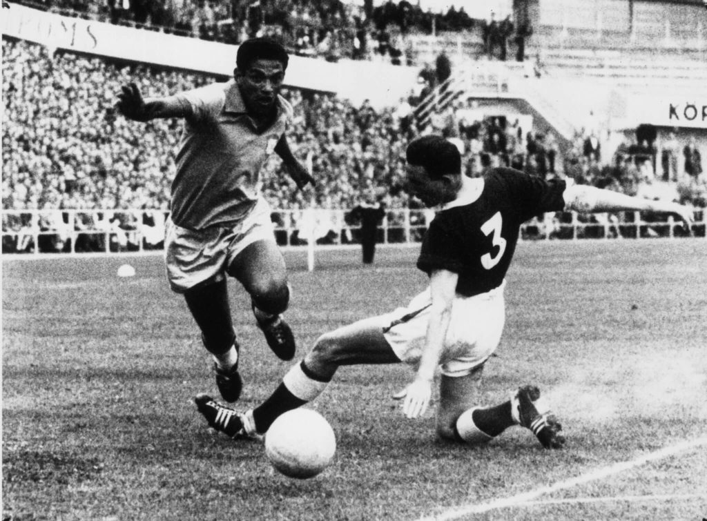 Garrincha at the World Cup in 1958.