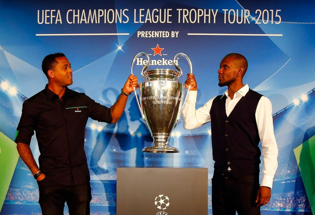 Patrick Kluivert (links) und Eric Abidal. Foto: Getty Images