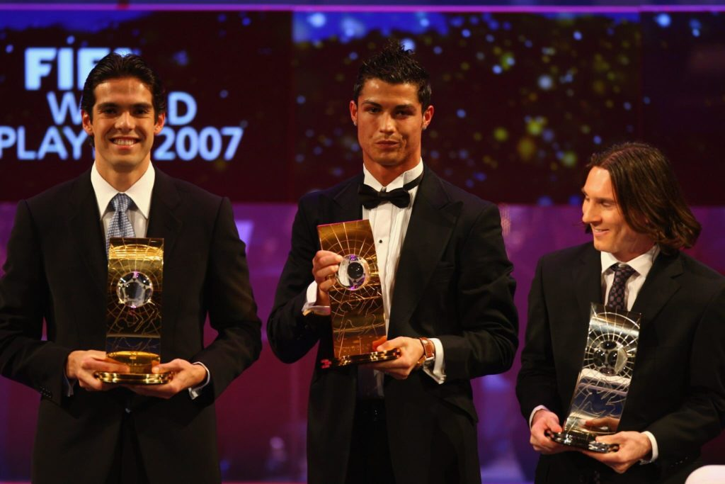 Kaka (links) mit Cristiano Ronaldo und Lionel Messi. Foto: Getty Images