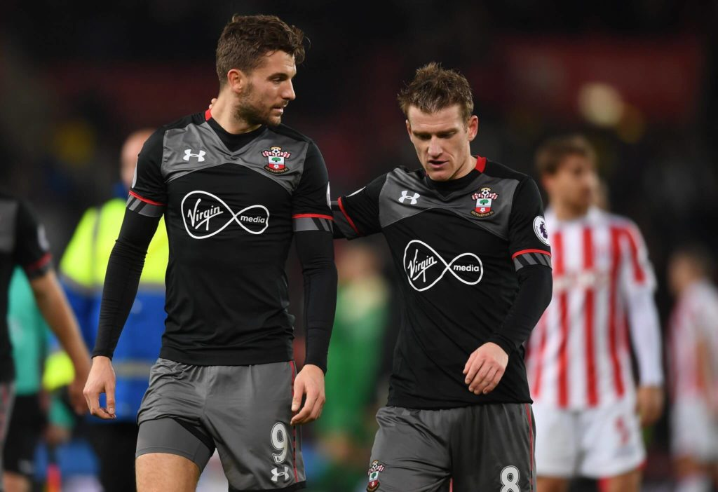 STOKE ON TRENT, ENGLAND - DECEMBER 14: Jay Rodriguez of Southampton (L) and Steven Davis of Southampton (R) speak after the final whistle during the Premier League match between Stoke City and Southampton at Bet365 Stadium on December 14, 2016 in Stoke on Trent, England. (Photo by Michael Regan/Getty Images)