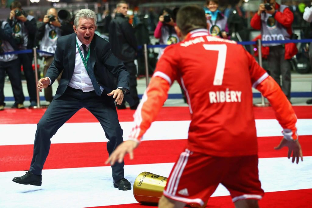 Heynckes feiert mit Franck Ribery. Foto: Getty Images