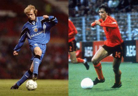Vater und Sohn: Jordi Cruyff (l.) im Trikot von Manchester United, Johan Cruyff (r.) auf dem Höhepunkt seiner Karriere, während der WM 1974 in Deutschland.