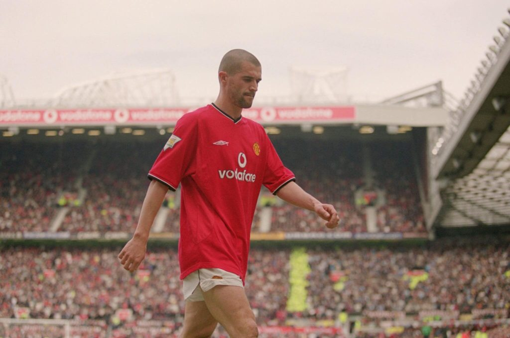 21 Apr 2001: Roy Keane of Manchester United walks off after being sent-off during the FA Carling Premiership match against Manchester City played at Old Trafford, in Manchester, England. The match ended in a 1-1 draw. Mandatory Credit: Gary M Prior/Allsport