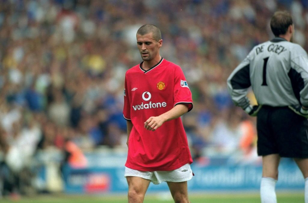 13 Aug 2000: Roy Keane of Manchester United is sent off during the Charity Shield against Chelsea at Wembley Stadium in London. Chelsea won the match 2-0. Mandatory Credit: Stu Forster /Allsport