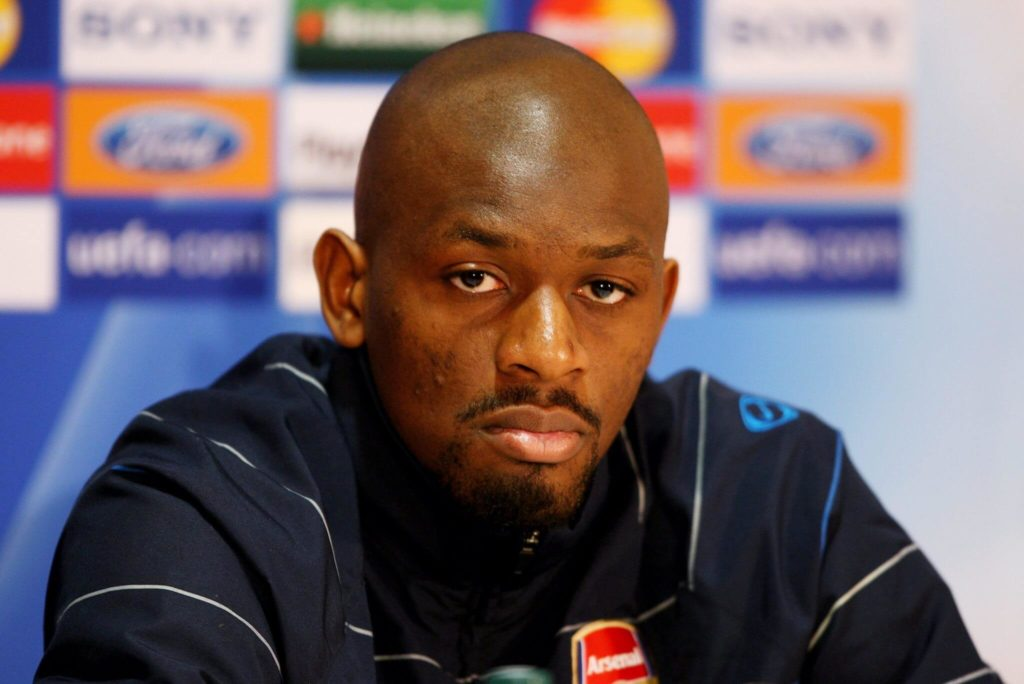 MANCHESTER, UNITED KINGDOM - APRIL 28: Abou Diaby speaks to the media during a press conference ahead of the UEFA Champions League semi-final first leg match against Manchester United at Old Trafford on April 28, 2009 in Manchester, England. (Photo by Clive Brunskill/Getty Images)