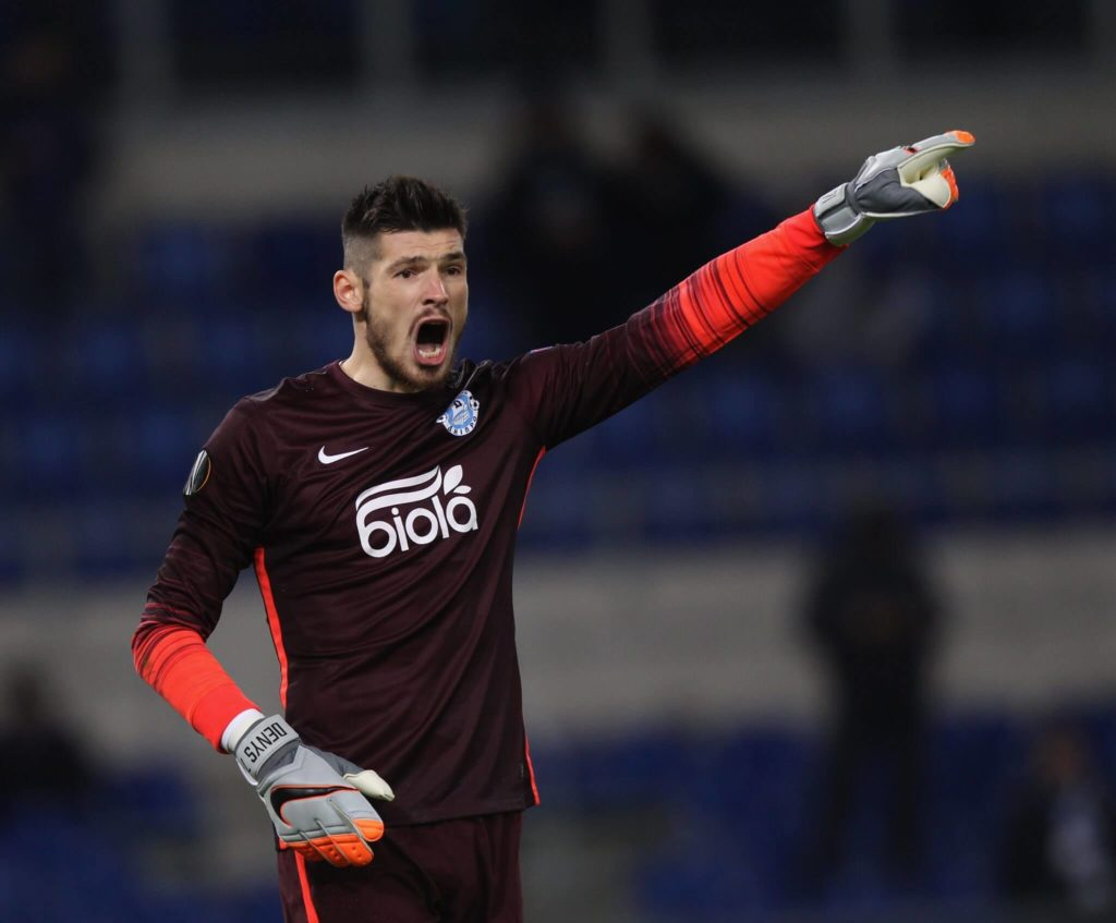 ROME, ITALY - NOVEMBER 26: FC Dnipro Dnipropetrovsk goalkeeper Denys Boyko gestures during the UEFA Europa League group G match between SS Lazio and FC Dnipro Dnipropetrovsk at Olimpico Stadium on November 26, 2015 in Rome, Italy. (Photo by Paolo Bruno/Getty Images)