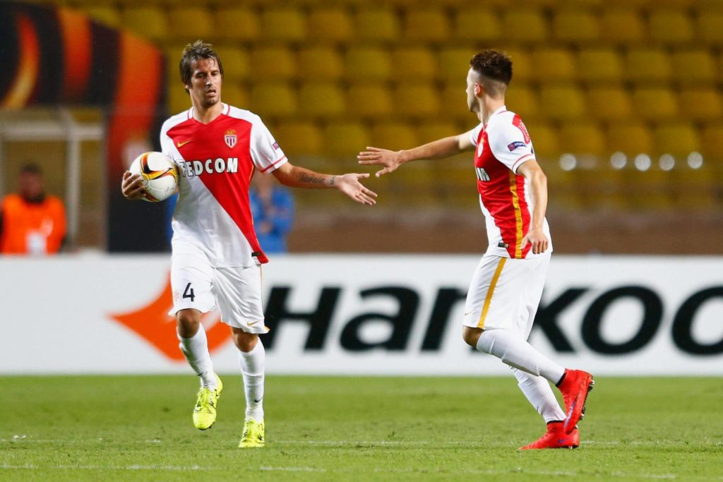 MONACO - OCTOBER 01: Fabio Coentrao of Monaco congratulates Stephan El Shaarawy of Monaco on scoring their first goal during the UEFA Europa League group J match between AS Monaco FC and Tottenham Hotspur FC at Stade Louis II on October 1, 2015 in Monaco, Monaco. (Photo by Julian Finney/Getty Images)