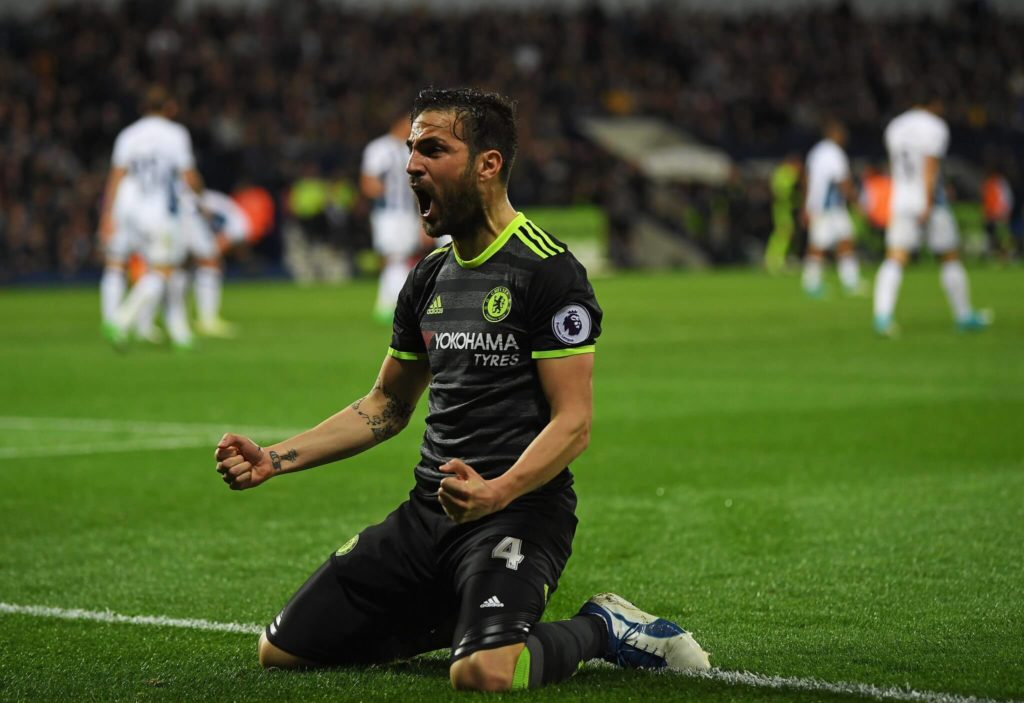 WEST BROMWICH, ENGLAND - MAY 12: Cesc Fabregas of Chelsea celebrates his sides first goal during the Premier League match between West Bromwich Albion and Chelsea at The Hawthorns on May 12, 2017 in West Bromwich, England. (Photo by Laurence Griffiths/Getty Images)