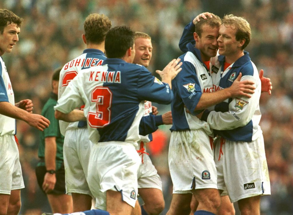 14 OCT 1995: ALAN SHEARER OF BLACKBURN IS CONGRATULATED BY HENNING BERG, AFTER SCORING THE SECOND GOAL DURING THE ROVERS GAMVE VERSUS SOUTHAMPTON IN BLACKBURN, ENGLAND. Mandatory Credit: Ross Kinnaird/ALLSPORT