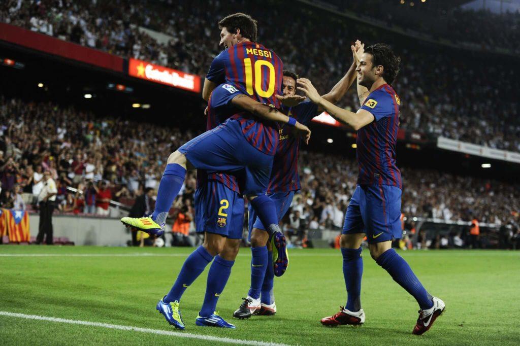Messi und Teammates.