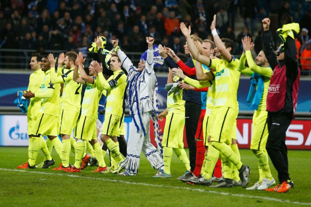 GHENT, BELGIUM - DECEMBER 09: Gent players celebrate after victory in the group H UEFA Champions League match between KAA Gent and Football Club Zenit Saint Petersburg held at Ghelamco Arena, on December 9, 2015 in Gent, Belgium. (Photo by Dean Mouhtaropoulos/Getty Images)