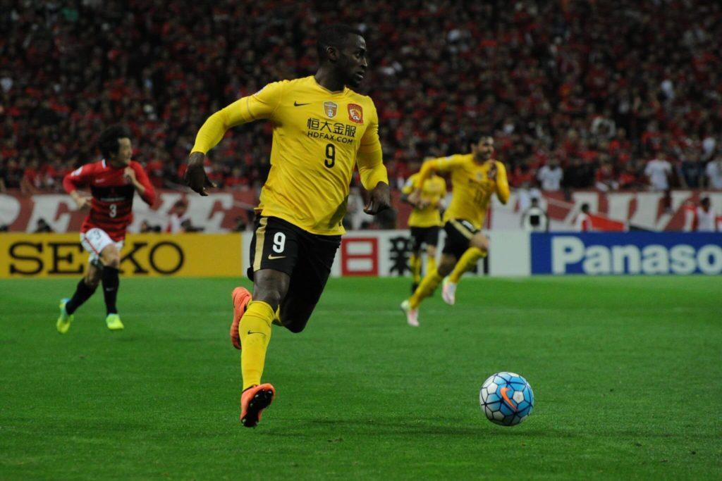 SAITAMA, SAITAMA - APRIL 05: Jackson Martinez #9 of Guangzhou Evergrande in action during the AFC Champions League Group H match between Urawa Red Diamonds and Guangzhou Evergrande at the Saitama Stadium on April 5, 2016 in Saitama, Japan. (Photo by Masashi Hara/Getty Images)