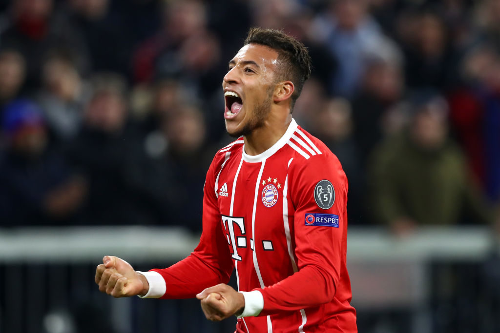 MUNICH, GERMANY - DECEMBER 05: Corentin Tolisso of Bayern Muenchen celebrates after scoring his sides third goal during the UEFA Champions League group B match between Bayern Muenchen and Paris Saint-Germain at Allianz Arena on December 5, 2017 in Munich, Germany. (Photo by Alexander Hassenstein/Bongarts/Getty Images)