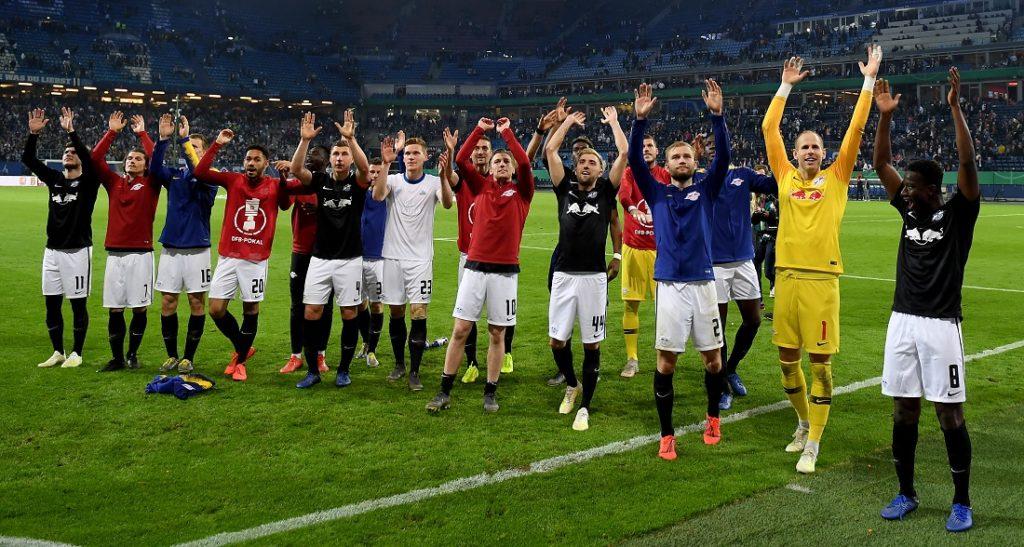 RB Leipzig bejubelt sein erstes DFB-Pokalfinale - nach dem 3:1-Halbfinalerfolg beim Hamburger SV