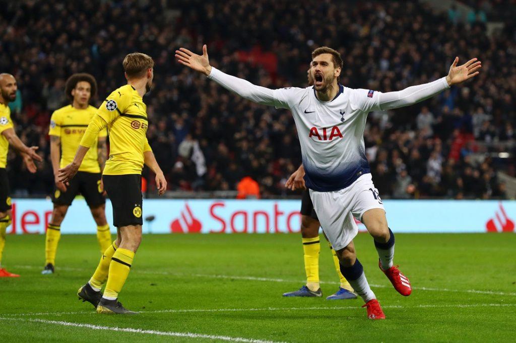 Fernando Llorente von Tottenham Hotspur feiert das dritte Tor am 13. Februar 2019 im Wembley-Stadion in dem UEFA Champions League Spiel gegen Borussia Dortmund.