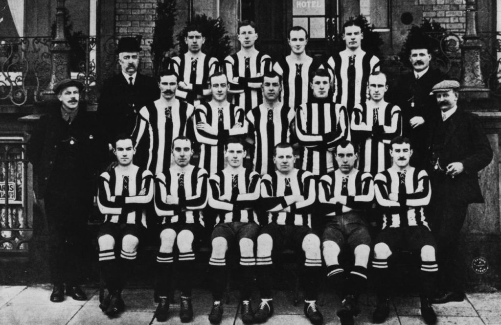 25th April 1908: The Newcastle United team group before their FA Cup final match against Wolverhampton Wanderers at Crystal Palace. Wolves won 3-1.