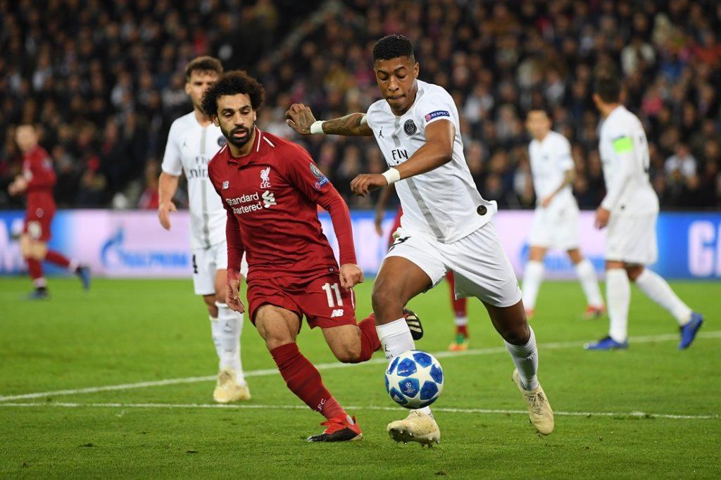 Presnel Kimpembe (r.), hier im Champions-League-Spiel gegen den FC Liverpool und Mohamed Salah, steht bei Paris St.-Germain offenbar auf der Streichliste..
