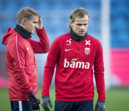 OSLO, NORWAY - OCTOBER 15: Iver Fossum and Martin Odegaard of Norway during training before the UEFA Nations League C group three match between Norway and Bulgaria at Ullevaal Stadion on October 15, 2018 in Oslo, Norway. (Photo by Trond Tandberg/Getty Images
