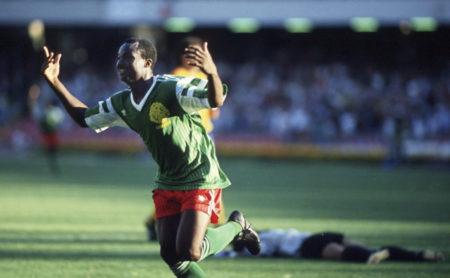 NAPLES, ITALY - JUNE 23: WM 1990 in Italien, Neapel; Kamerun - Kolumbien (CMR - COL) 2:1; Jubel Roger MILLA/CMR