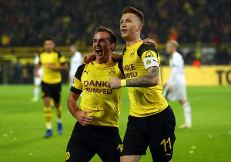 Mario Götze und Marco Reus (r.) führten Borussia Dortmund zum 2:1-Sieg im Spitzenduell gegen Borussia Mönchengladbach