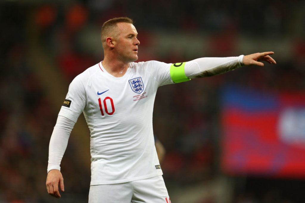 LONDON, ENGLAND - NOVEMBER 15: Wayne Rooney of England gives his team instructions during the International Friendly match between England and United States at Wembley Stadium on November 15, 2018 in London, United Kingdom.