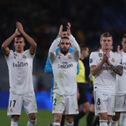 ROME, ITALY - NOVEMBER 27: Dani Carvajal with his teammates of Real Madrid celebrates the victory after the group G match of the UEFA Champions League between AS Roma and Real Madrid at Stadio Olimpico on November 27, 2018 in Rome, Italy.