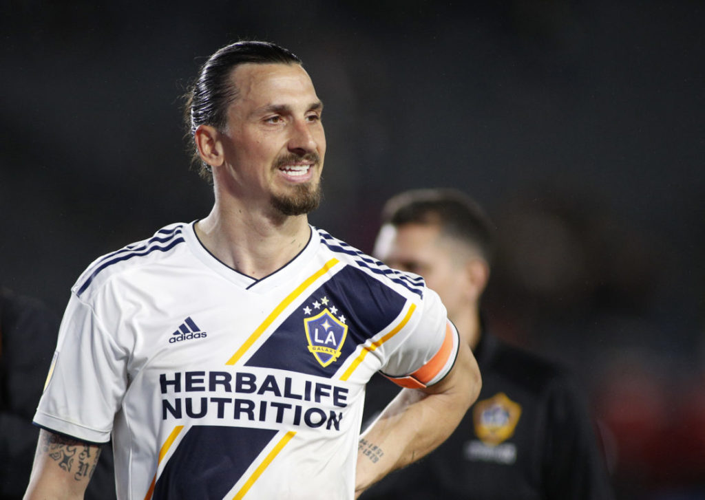 CARSON, CALIFORNIA - MARCH 02: Zlatan Ibrahimovic #9 of Los Angeles Galaxy leaves the field after defeating the Chicago Fire at Dignity Health Sports Park on March 02, 2019 in Carson, California.