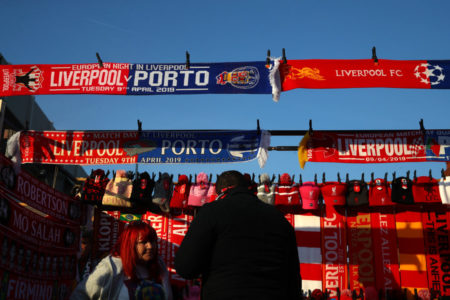LIVERPOOL, ENGLAND - APRIL 09: Merchandise is sold outside the stadium ahead of the UEFA Champions League Quarter Final first leg match between Liverpool and Porto at Anfield on April 09, 2019 in Liverpool, England.