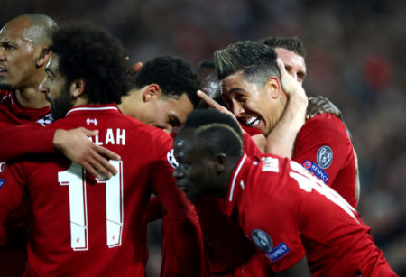 LIVERPOOL, ENGLAND - APRIL 09: Roberto Firmino of Liverpool celebrates after scoring his team's second goal with his team mates during the UEFA Champions League Quarter Final first leg match between Liverpool and Porto at Anfield on April 09, 2019 in Liverpool, England.