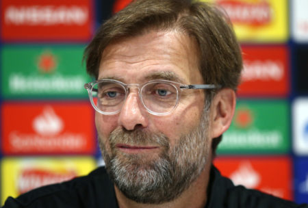 LIVERPOOL, ENGLAND - APRIL 08: Jurgen Klopp, Manager of Liverpool attends a Liverpool press conference ahead of their UEFA Champions League quarter-final match against FC Porto. at Anfield on April 08, 2019 in Liverpool, England.