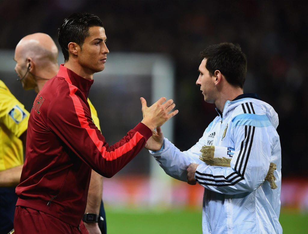 CR7 and Leo Messi -Not necessarily quite best friends, but no enemies either. Photo: Getty Images