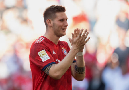 MUNICH, GERMANY - APRIL 20: Niklas Suele of FC Bayern Muenchen applauds the fans after the Bundesliga match between FC Bayern Muenchen and SV Werder Bremen at Allianz Arena on April 20, 2019 in Munich, Germany. (