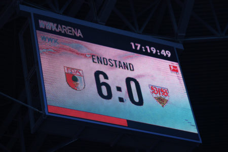 AUGSBURG, GERMANY - APRIL 20: A general view of the big screen showing the final score following the Bundesliga match between FC Augsburg and VfB Stuttgart at WWK-Arena on April 20, 2019 in Augsburg, Germany.
