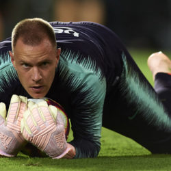 VALENCIA, SPAIN - OCTOBER 07: Ter Stegen of Barcelona warms up during the La Liga match between Valencia CF and FC Barcelona at Estadio Mestalla on October 7, 2018 in Valencia, Spain.
