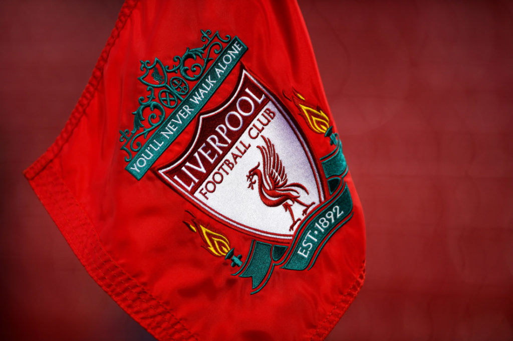 LIVERPOOL, ENGLAND - FEBRUARY 11: A close up view of a Liverpool corner flag prior to the Premier League match between Liverpool and Tottenham Hotspur at Anfield on February 11, 2017 in Liverpool, England.