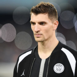 NAPLES, ITALY - NOVEMBER 06: Thomas Meunier of Paris Saint-Germain in action during the Group C match of the UEFA Champions League between SSC Napoli and Paris Saint-Germain at Stadio San Paolo on November 6, 2018 in Naples, Italy.