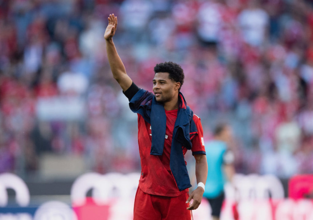 MUNICH, GERMANY - APRIL 20: Serge Gnabry of FC Bayern Muenchen waves to the fans after the Bundesliga match between FC Bayern Muenchen and SV Werder Bremen at Allianz Arena on April 20, 2019 in Munich, Germany.
