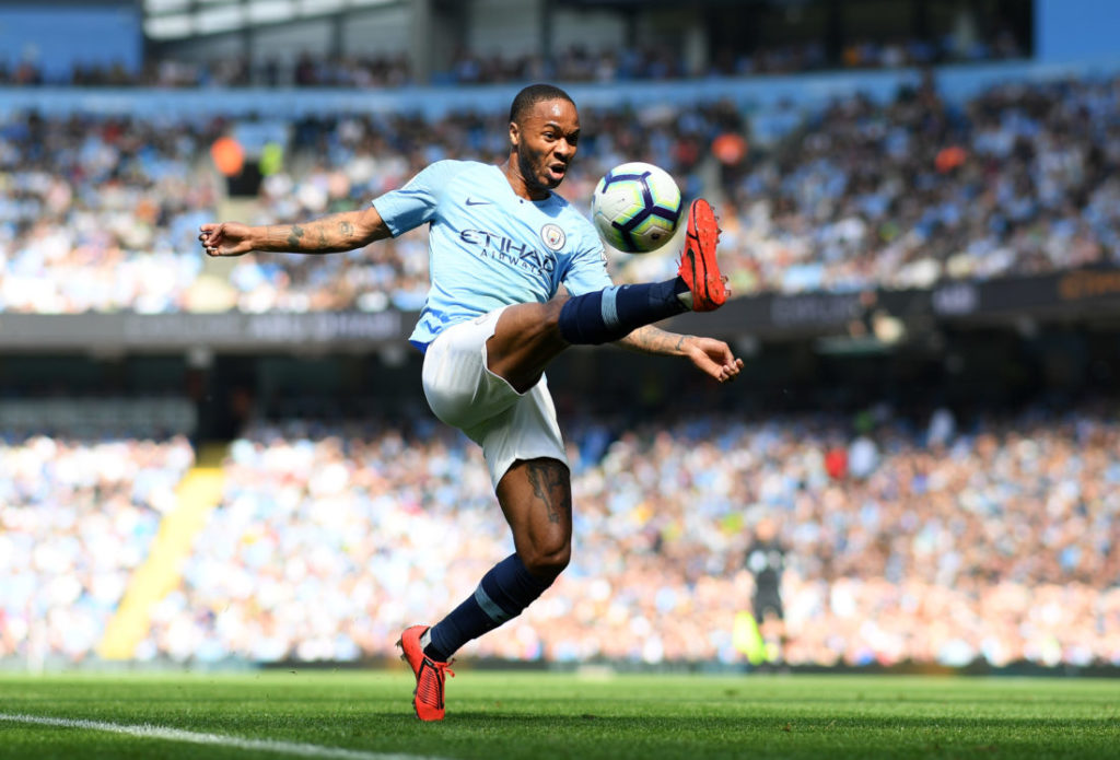 MANCHESTER, ENGLAND - APRIL 20: Raheem Sterling of Manchester City controls the ball during the Premier League match between Manchester City and Tottenham Hotspur at Etihad Stadium on April 20, 2019 in Manchester, United Kingdom.