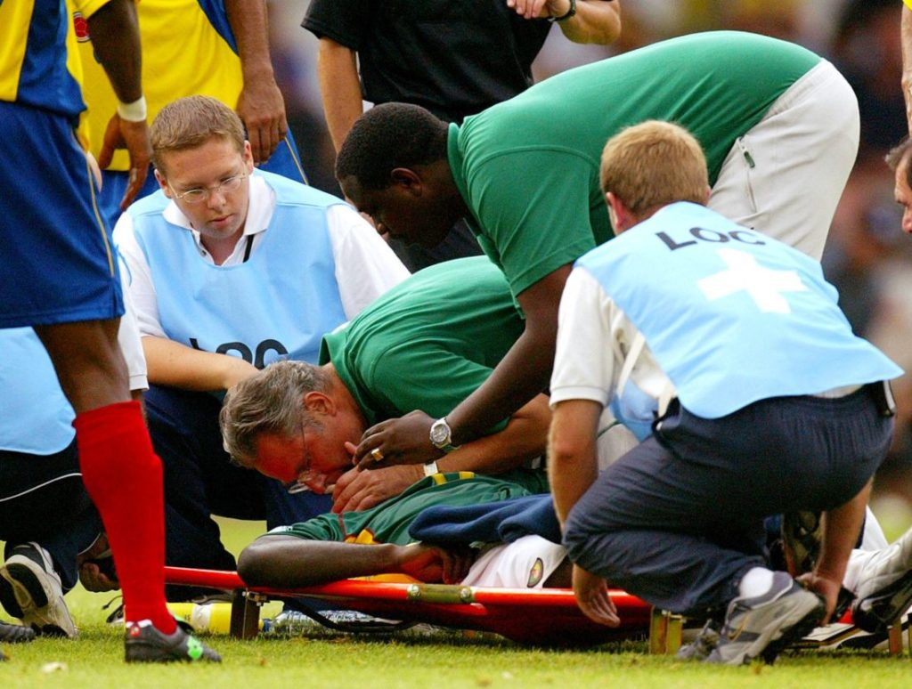 26th June 2003: marc-Vivien Foe has collapsed on the pitc. Medical staff try to save his life.