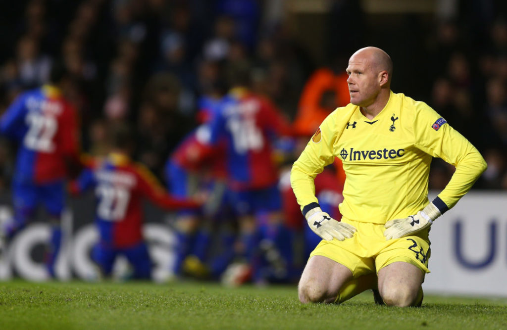 LONDON, ENGLAND - APRIL 04: Brad Friedel of Tottenham Hotspur looks after conceding a second goal by Fabian Frei of FC Basel during the UEFA Europa League quarter-final first leg between Tottenham Hotspur FC and FC Basel 1893 at White Hart Lane on April 4, 2013 in London, England.