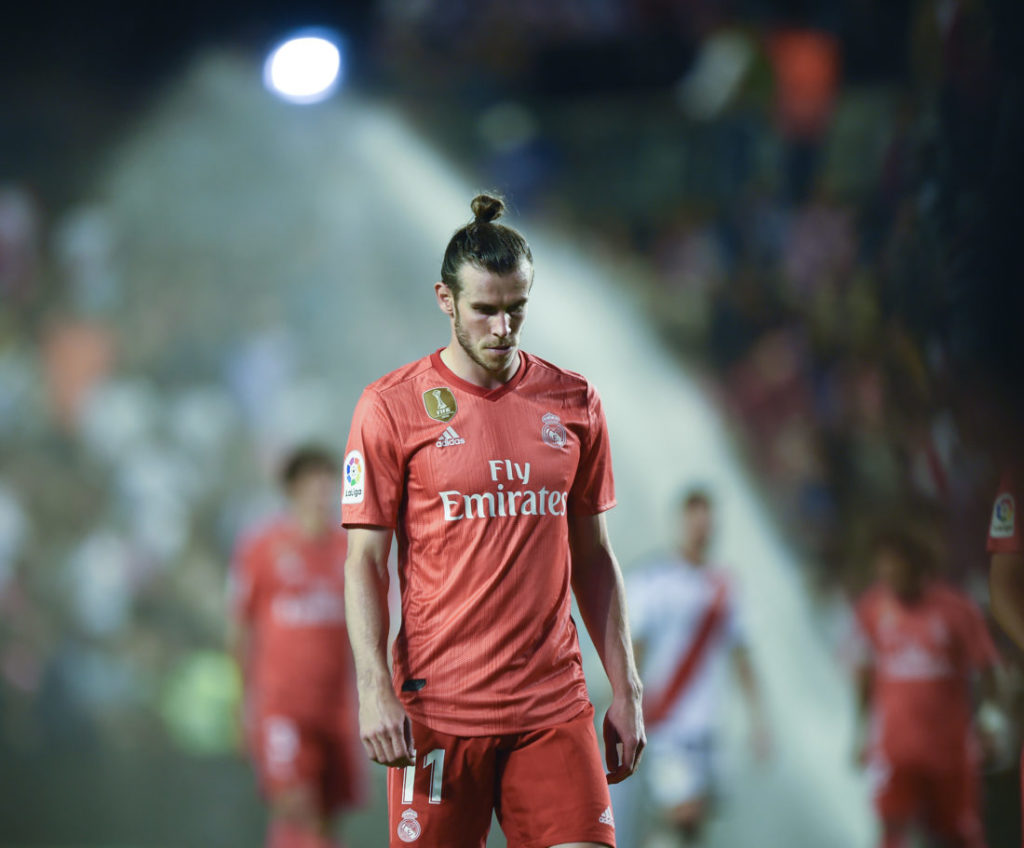 MADRID, SPAIN - APRIL 28: Gareth Bale of Real Madrid looks dejected during the La Liga match between Rayo Vallecano de Madrid and Real Madrid CF at Campo de Futbol de Vallecas on April 28, 2019 in Madrid, Spain.