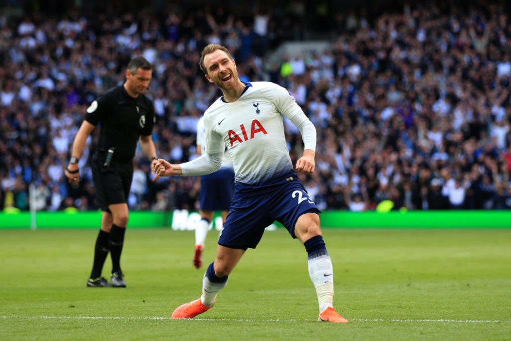 LONDON, ENGLAND - MAY 12: Christian Eriksen of Tottenham Hotspur celebrates during the Premier League match between Tottenham Hotspur and Everton FC at Tottenham Hotspur Stadium on May 12, 2019 in London, United Kingdom.