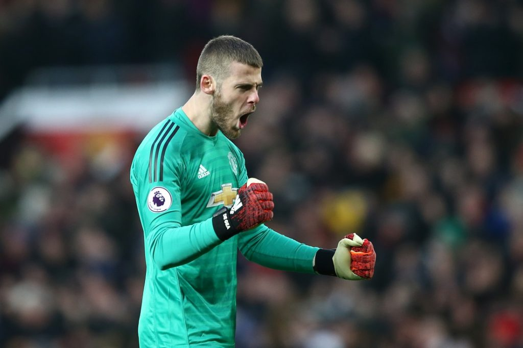 David de Gea during the Premier League match between Manchester United and Brighton & Hove Albion at Old Trafford on January 19, 2019 in Manchester, United Kingdom.
