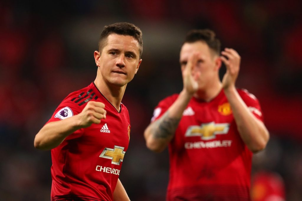 LONDON, ENGLAND - JANUARY 13: Ander Herrera of Manchester United celebrates after the Premier League match between Tottenham Hotspur and Manchester United at Wembley Stadium on January 13, 2019 in London, United Kingdom.