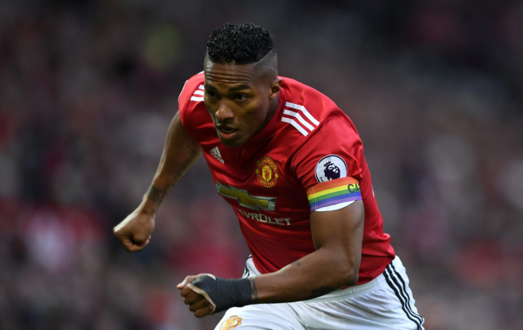 MANCHESTER, ENGLAND - NOVEMBER 25: Antonio Valencia of Manchester United wears rainbow colours captains armband during the Premier League match between Manchester United and Brighton and Hove Albion at Old Trafford on November 25, 2017 in Manchester, England.