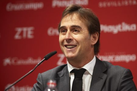 SEVILLE, SPAIN - JUNE 05: Julen Lopetegui attends to the press as he is unveiled as manager of Sevilla FC on June 05, 2019 in Seville, Spain. (Photo by Aitor Alcalde/Getty Images)