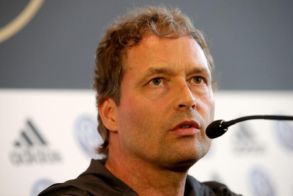 DFB-Interimstrainer Marcus Sorg in der Pressekonferenz zum Spiel gegen Estland in Mainz.