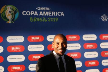 Mauro Silva, Weltmeister von 1994, bei der Auslosung der Gruppenspiele zur Copa América 2019